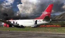 ВПеру при посадке загорелся пассажирский самолет