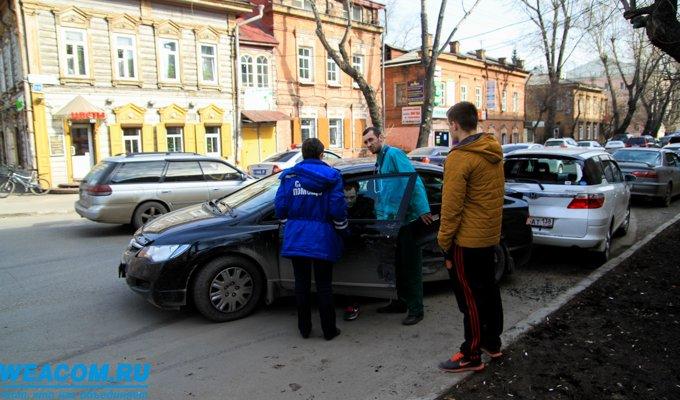 В Иркутске три автомобиля Honda столкнулись на перекрестке улиц Марата и Российской