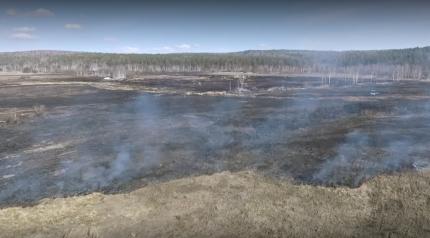 Полицейские устанавливают виновников возгорания сухой травы в Иркутском районе