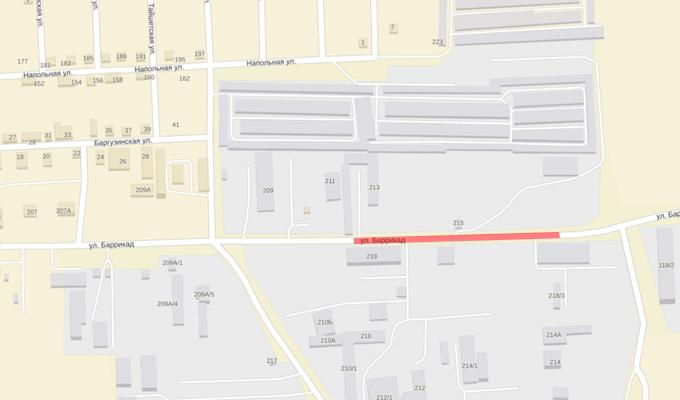 В Иркутске на две недели ограничат движение по улице Баррикад