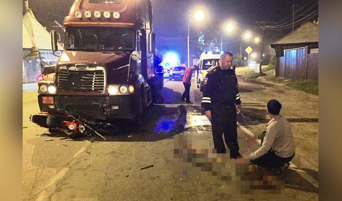 В Усольском районе столкнулись фура и мотоцикл, погиб 23-летний мужчина
