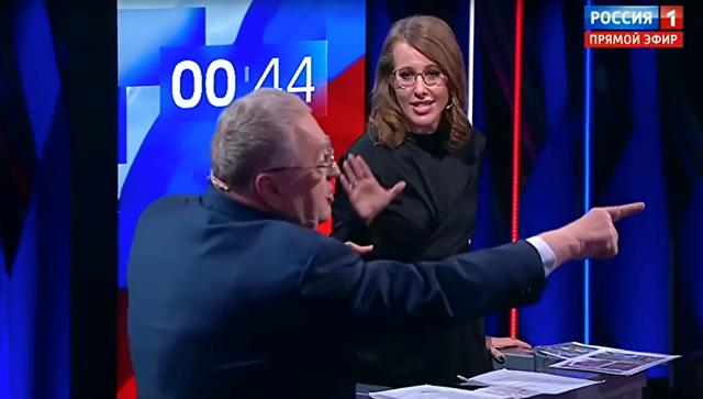 Надебатах Жириновский был облит водой после того, как обругал Собчак