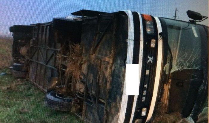 На Ставрополье из-за заснувшего за рулем водителя перевернулся автобус