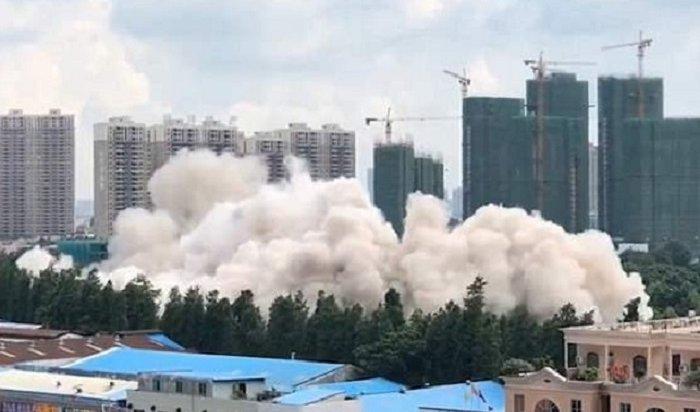 ВКитае 15-этажный дом рухнул за10секунд (Видео)