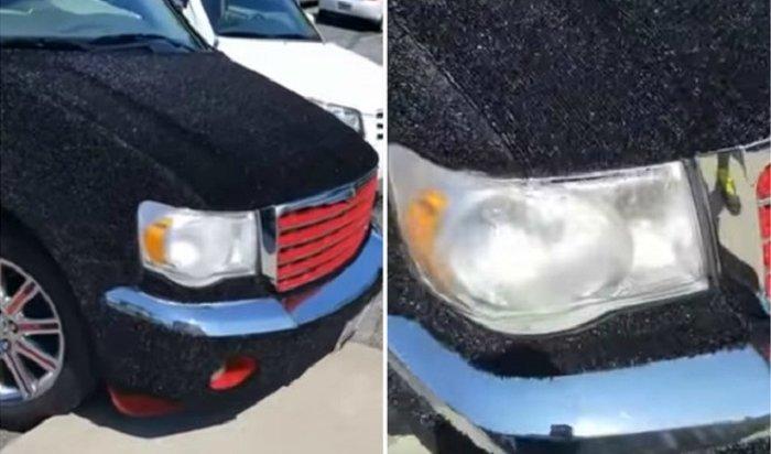 Владелец обил кузов автомобиля ковром (Видео)