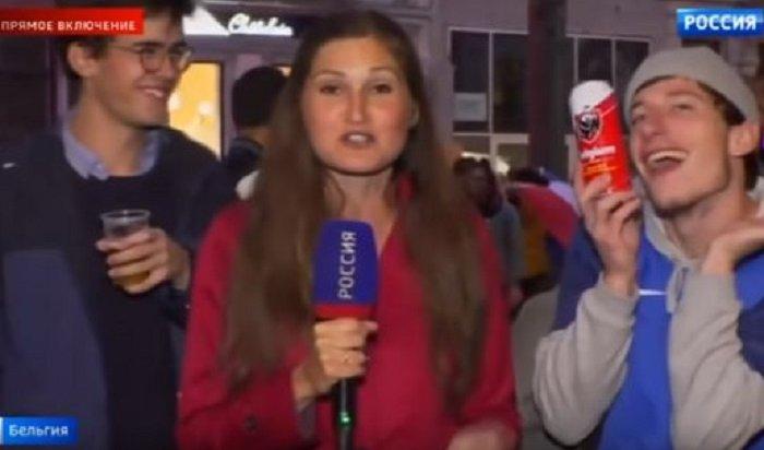 Французский фанат, целующийся спивом, украсил прямой эфир телеканала «Россия» (Видео)