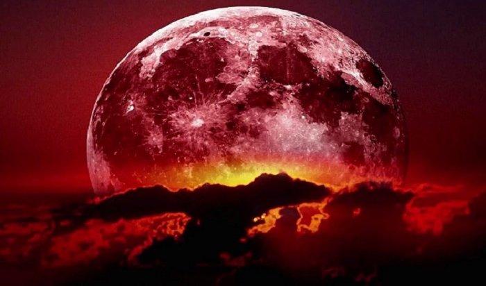 Над Землей взошли кровавая луна и огромный Марс (Видео)