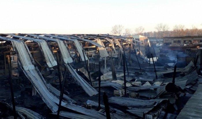 Цех попроизводству бетона горел вИркутске