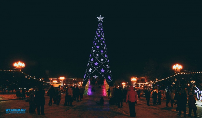 Всквере Кирова Иркутска приступили кмонтажу главной новогодней елки