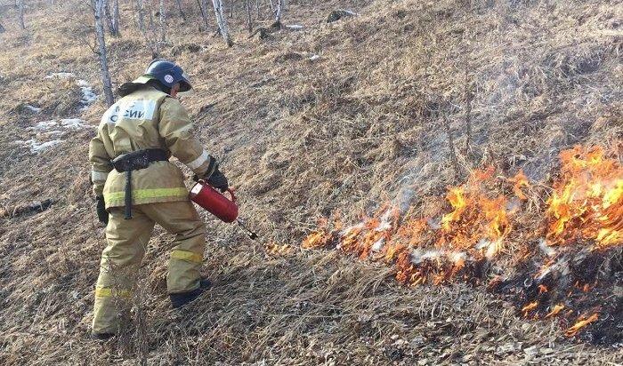 ВСлюдянке сотрудники МЧС провели отжиг травы наплощади 97газасутки