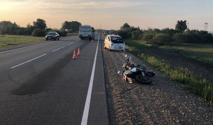 14-летний мотоциклист пострадал при столкновении сSuzuki Alto вУсольском районе