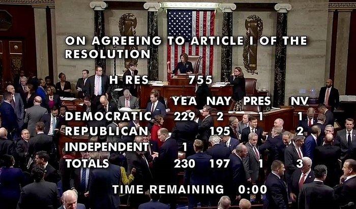 Палата представителей конгресса США объявила импичмент Дональду Трампу