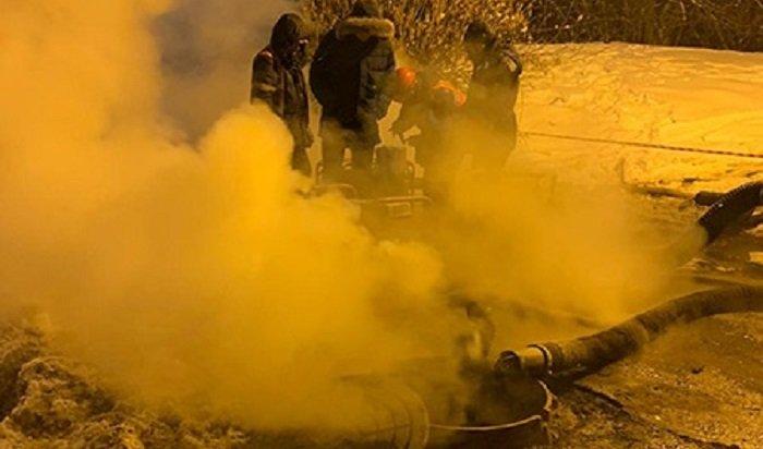 ВИркутске ночью устраняли коммунальную аварию напересечении улиц Улан-Баторской иЛермонтова