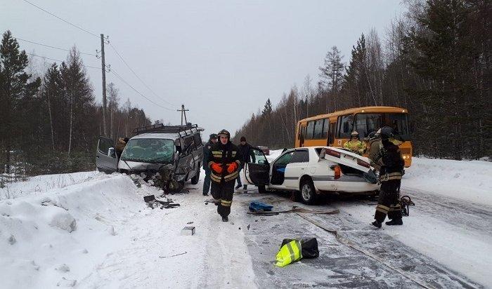 Шесть взрослых идва ребенка пострадали вДТП вУсть-Илимске (Видео)