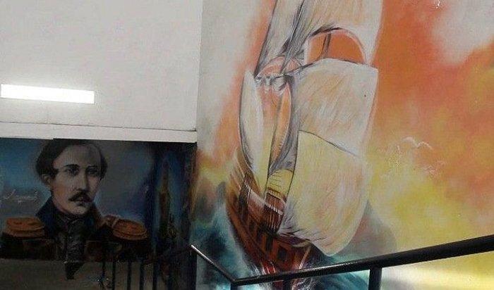 Граффити сизображением Лермонтова закрасили вовремя ремонта подземного перехода