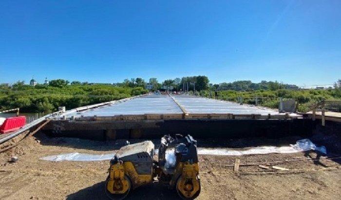 Полотно моста через Ушаковку бетонируют материалом повышенной прочности