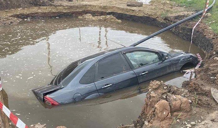 ВБаяндае утонул автомобиль