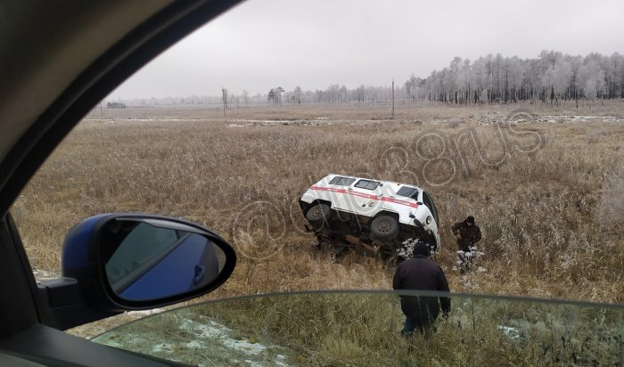 Машина скорой помощи сбеременной женщиной перевернулась сегодня натрассе вУсольском районе (Видео)